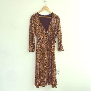 Zara Leopard Wrap Midi Dress M